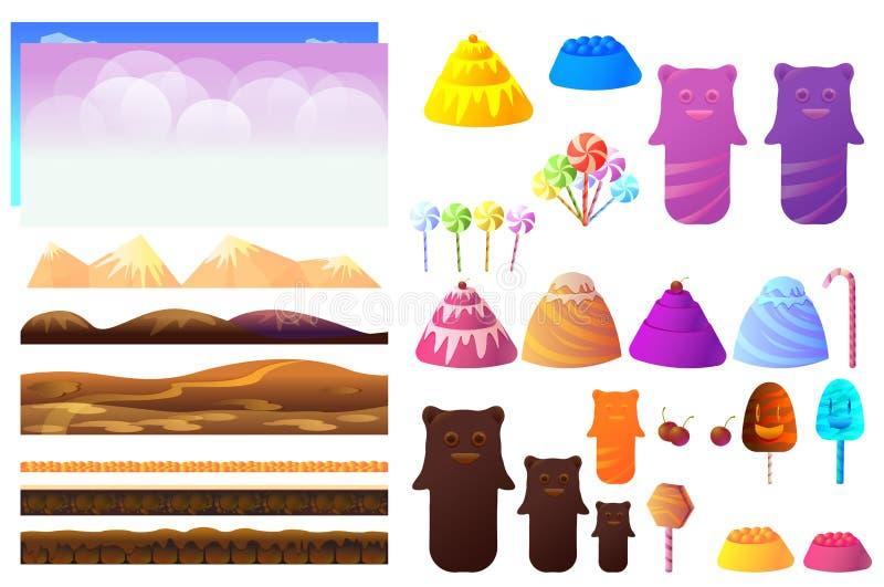 Modiga sötsakstycken, candylandbeståndsdelar Vektorsamling för videospel royaltyfri illustrationer