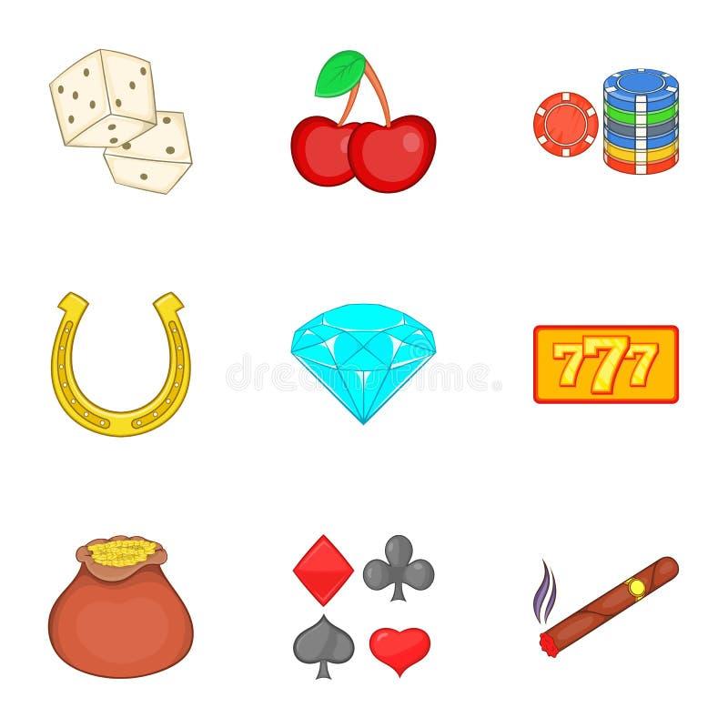 Modiga symboler uppsättning, tecknad filmstil för kasino vektor illustrationer