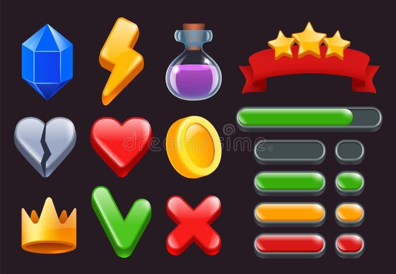 Modiga uisatssymboler Stjärnor färgade bandmenyer, och statusstänger för online-rengöringsduk- eller smartphonelekar har kontakt  royaltyfri illustrationer