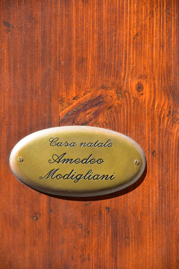 Modigliani Birthplace door Sign. Livorno, Toscane, Italië stock foto