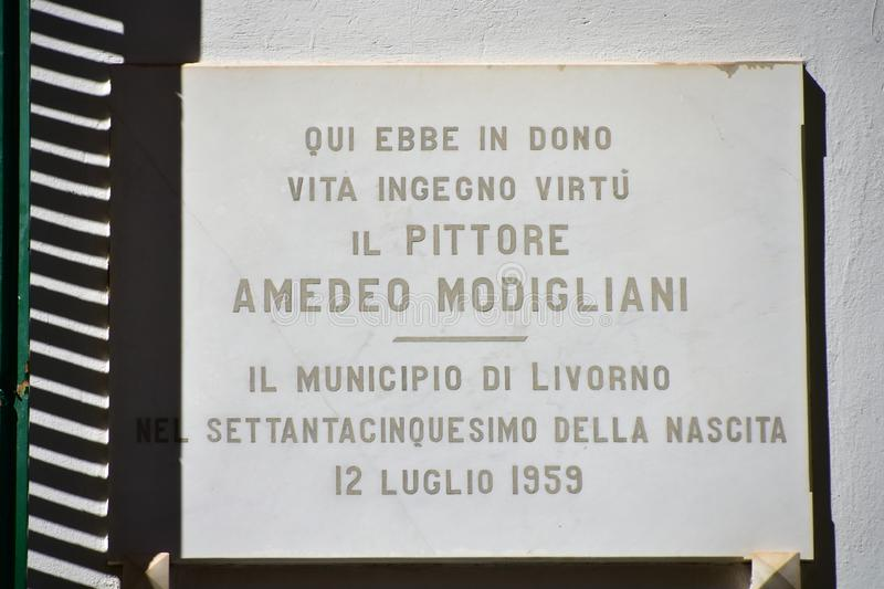 Modigliani Birthplace Wall Plaque, Livorno, Toscane, Italië royalty-vrije stock fotografie