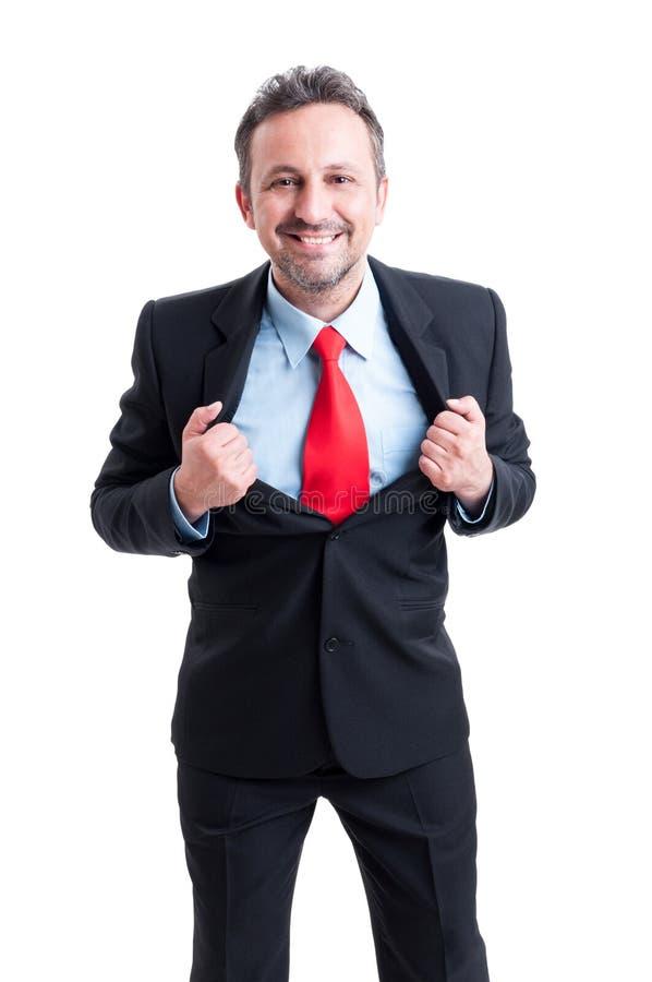 Modigt för affärsman för toppen hjälte begrepp arkivbilder