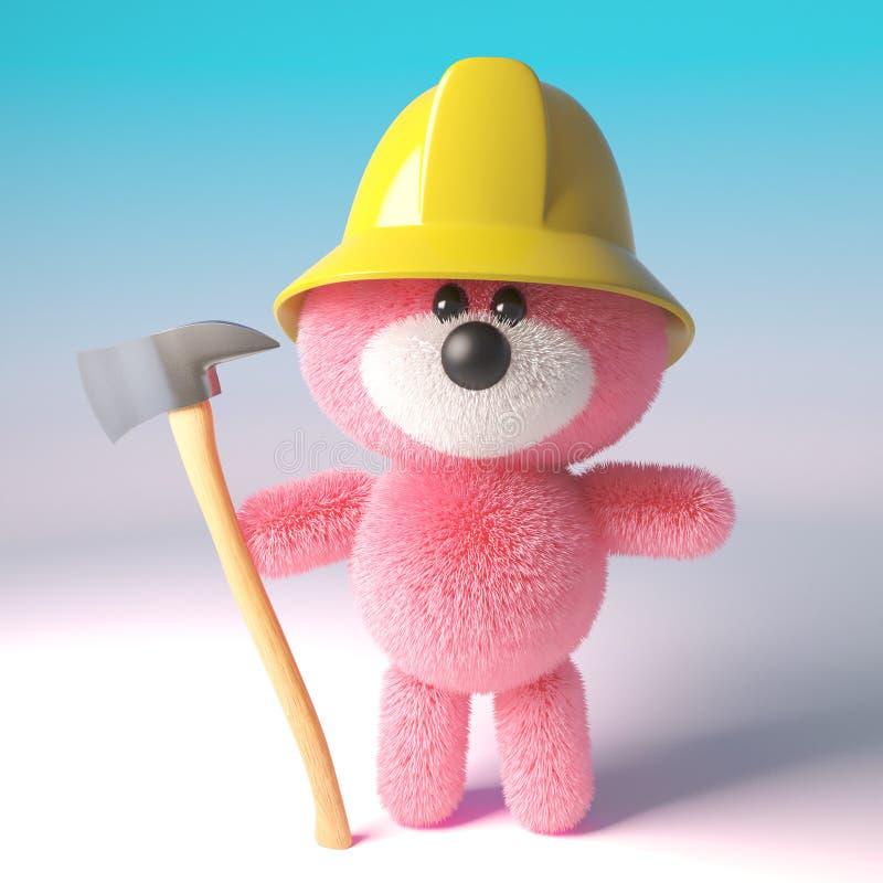 Modigt rosa fluffigt tecken för nallebjörn som kläs som en brandmanbrandman som rymmer en brandyxa, illustration 3d royaltyfri illustrationer