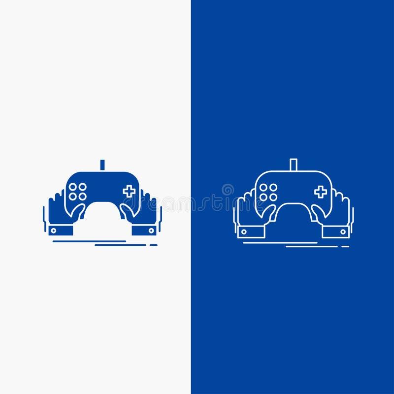 modigt, spela, mobilt, underhållning, knapp för applinje- och skårarengöringsduk i det vertikala banret för blå färg för UI och U vektor illustrationer