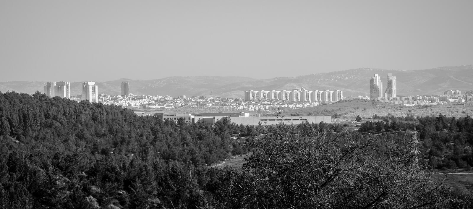 Modiin city B/W. The new city of Modiin in Israel. Black and white picture. Photo taken on: Jan, 2015 stock photo