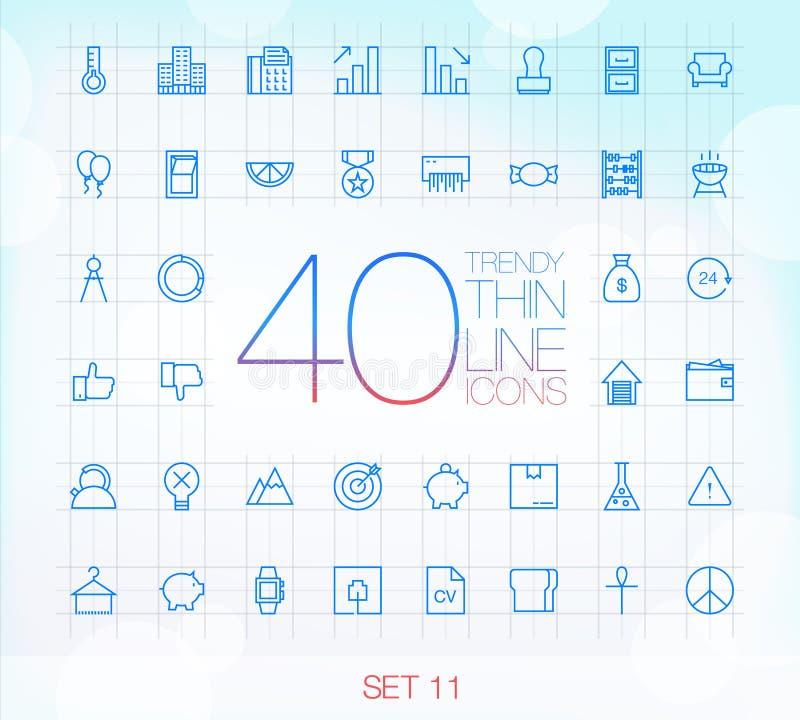 40 modische dünne Ikonen für Netz und Mobile stellten 11 ein vektor abbildung