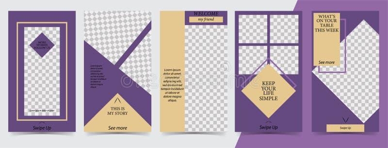 Modische editable Schablone für Geschichten der sozialen Netzwerke, instagram Geschichten, Vektorillustration Designhintergründe  lizenzfreie abbildung
