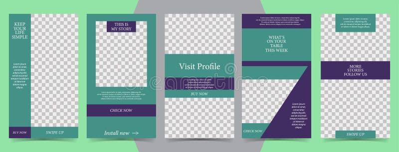 Modische editable Schablone für Geschichten der sozialen Netzwerke, Vektorillustration Designhintergründe für Social Media lizenzfreie abbildung