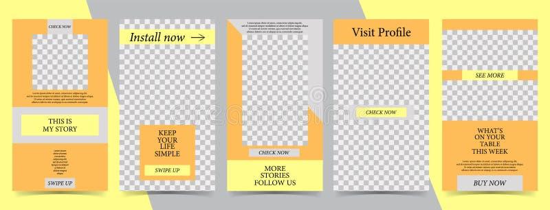 Modische editable Schablone für Geschichten der sozialen Netzwerke, Vektorillustration Designhintergründe für Social Media stock abbildung