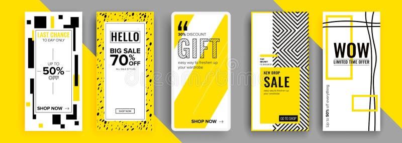 Modische editable Schablone f?r Geschichten der sozialen Netzwerke, Vektorillustration Designhintergr?nde f?r Social Media stock abbildung