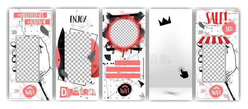 Modische editable Schablonen für Geschichten der sozialen Netzwerke, schwarzer Freitag-Verkauf lizenzfreie abbildung