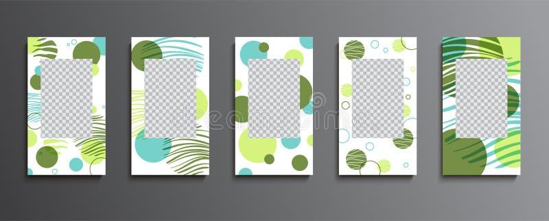Modische editable Schablonen für Geschichten Entwurfshintergründe für Social Media, Flieger, Fahnen, Karten, Einladungen Schablon lizenzfreie abbildung