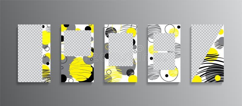 Modische editable Schablonen für Geschichten Entwurfshintergründe für Social Media, Flieger, Fahnen, Karten, Einladungen Schablon vektor abbildung