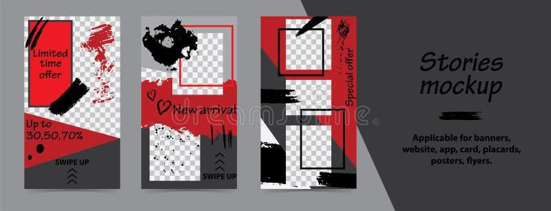 Modische editable Schablonen für instagram Geschichten, schwarzer Freitag-Verkauf, Geschenk, Vektorillustration Designhintergründ stock abbildung