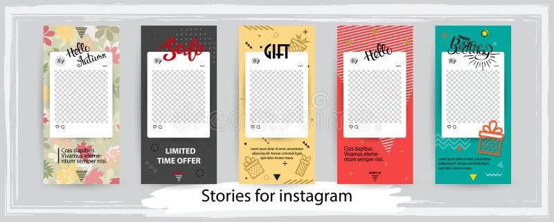 Modische editable Schablonen für instagram Geschichten, Vektor illustr stock abbildung
