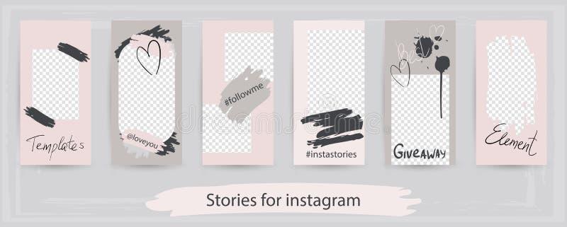 Modische editable Schablonen für instagram Geschichten, Vektor illustra lizenzfreie abbildung