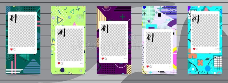Modische editable Schablonen für instagram Geschichten, Verkauf Designhintergründe für Social Media Hand gezeichnete abstrakte Ka stock abbildung