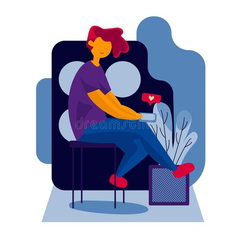 Modische flache Artcharakter-Vektorillustration Mädchen, das ein Smartphonetelefon, schlagend wie Knopfkonzept hält stockbild