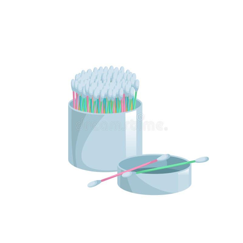 Modische flache Artwattestäbchen der Karikatur in der Ikone des offenen Behälters Bunte Ohr- und Kosmetikknospen der Karikatur Ve stock abbildung