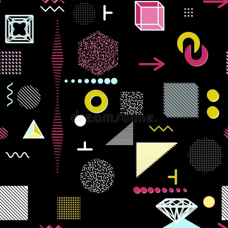Modische geometrische Elementmemphis-Karten, nahtloses Muster Retrostilbeschaffenheit Modernes abstraktes Designplakat, Abdeckung lizenzfreie abbildung