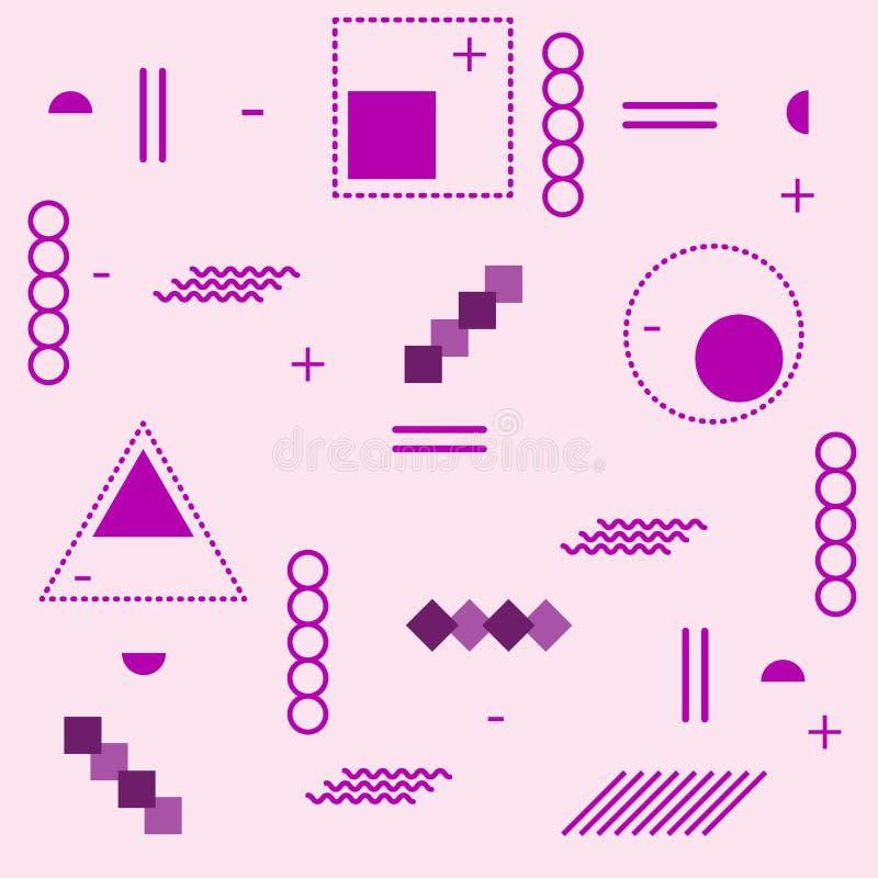 Modische geometrische Elementmemphis-Karten Retrostilbeschaffenheit Modernes abstraktes Designplakat, Abdeckung, Kartendesign Vek lizenzfreie abbildung