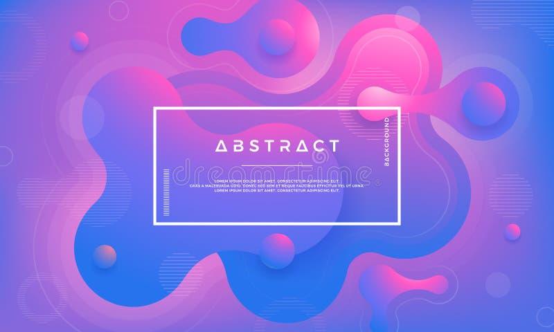 Modische Gestaltungselemente der flüssigen, flüssigen Steigung Abstrakter blauer, purpurroter flüssiger Hintergrund stock abbildung