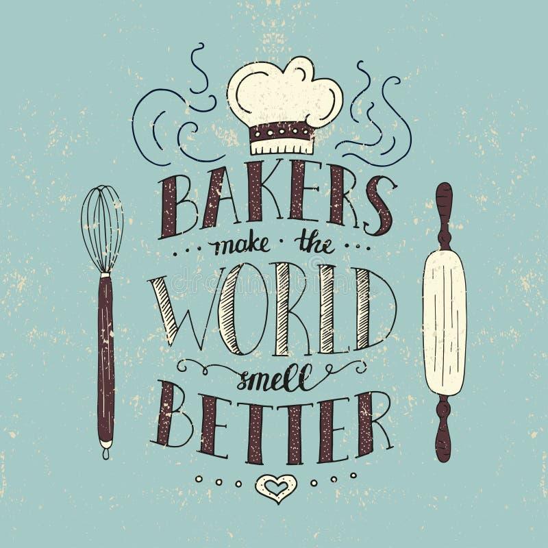 Modische handgeschriebene Illustration für T-Shirt Design, Notizbuchabdeckung, Plakat für Bäckereishop und Café stock abbildung