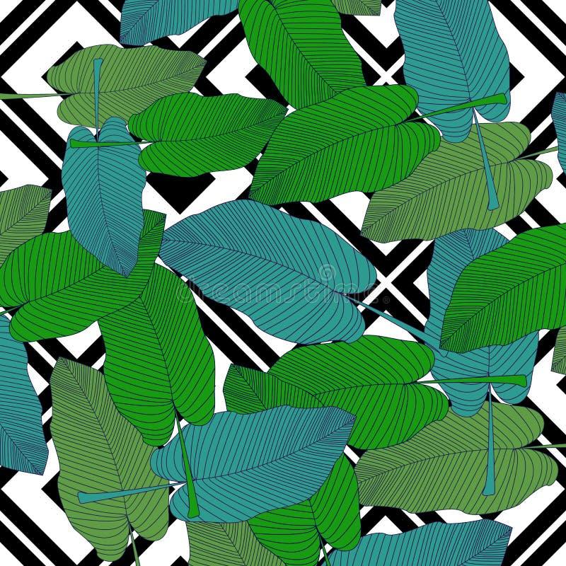 Modische Handgezogenes Muster mit gezogenem Entwurf des bunten Bananenblattes auf geometrischem Schwarzweiss-Hintergrund Tropisch stock abbildung