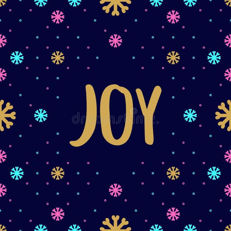 Modische Hippie Weihnachtskarte mit Freudenkalligraphie, Schneeflockenfeiertagsmuster stock abbildung