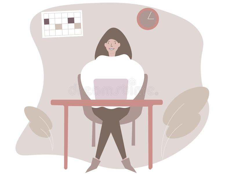 Modische Illustration einer Arbeitskraft des jungen M?dchens des B?ros, wenn Sie an einem Computer gl?cklich sitzen und arbeiten vektor abbildung