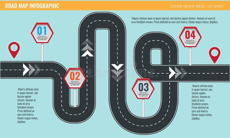 Modische infographic Schablone mit Straßenkarte unter Verwendung der Zeiger und der Pfeile lizenzfreie abbildung