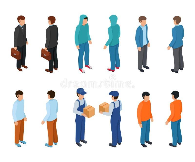 Modische isometrische junge kreative Leute mit Geschäftsmann, Freiberuflern, Lieferungskurier und einfachen Leuten stock abbildung