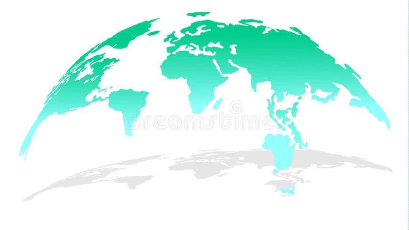 Modische Karte der Welt in der hellblauen Farbe mit Schatten stock abbildung