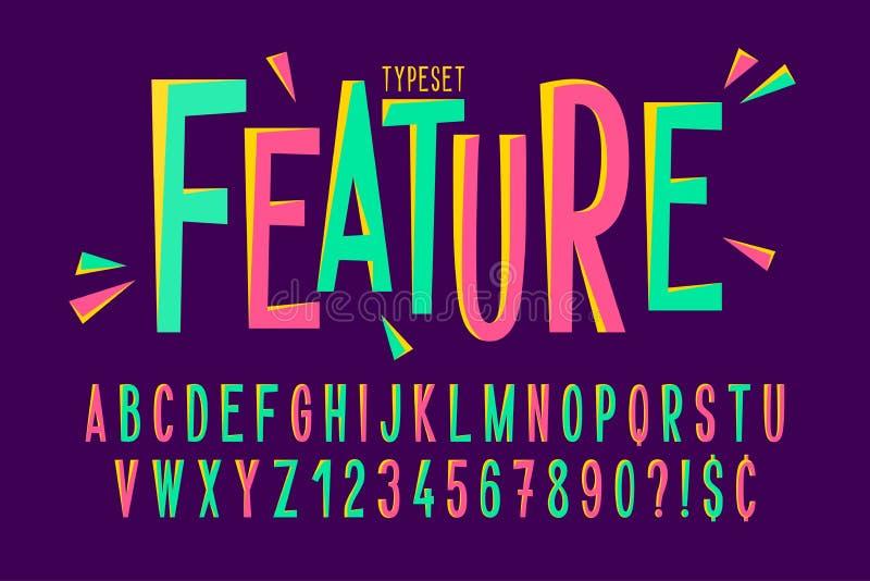Modische komische verkürzte Schriftart, buntes Alphabet stock abbildung