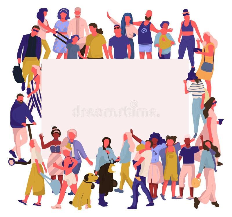 Modische Leutefahne Menge von glücklichen Männern und von Frauen mit leerem Plakat, verschiedene multikulturelle Gesellschaft Vek lizenzfreie abbildung
