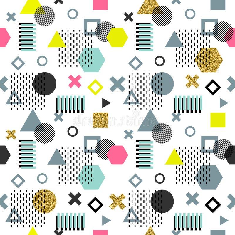 Modische Memphis-Karten Abstraktes nahtloses Muster Retrostilbeschaffenheit, Muster und geometrische Elemente Moderner Auszug lizenzfreie abbildung