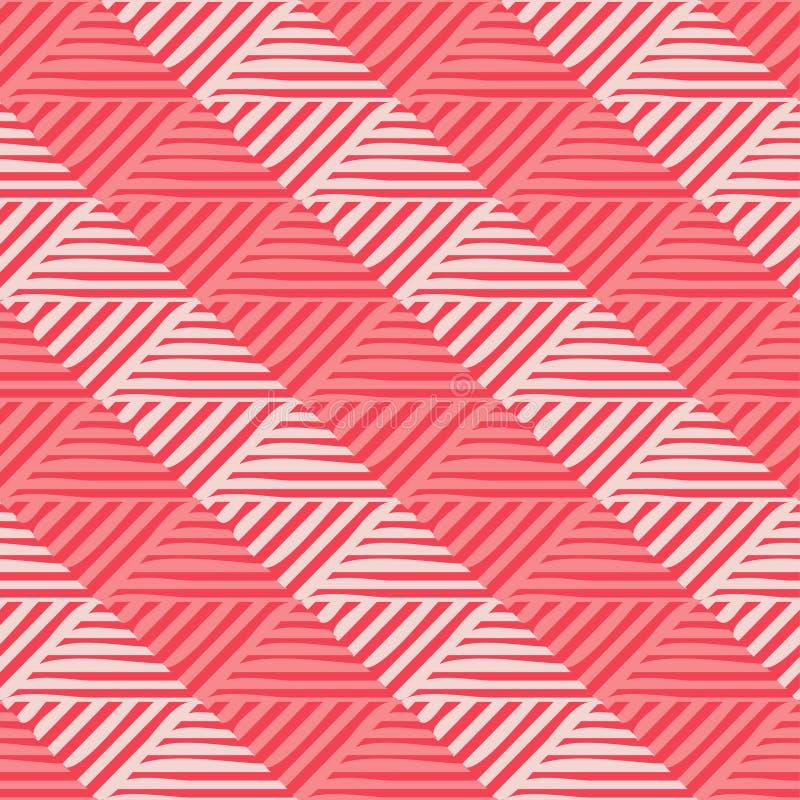 Modische nahtlose Musterdesigne Mosaik von gestreiften Quadraten Vector geometrischen Hintergrund stock abbildung
