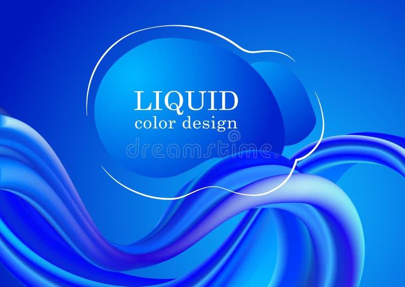 Modische Steigung formt Zusammensetzung Farbfluss-Vektorentwurf Modernes buntes Flussplakat Flüssige Wellenform auf Blau stockfoto