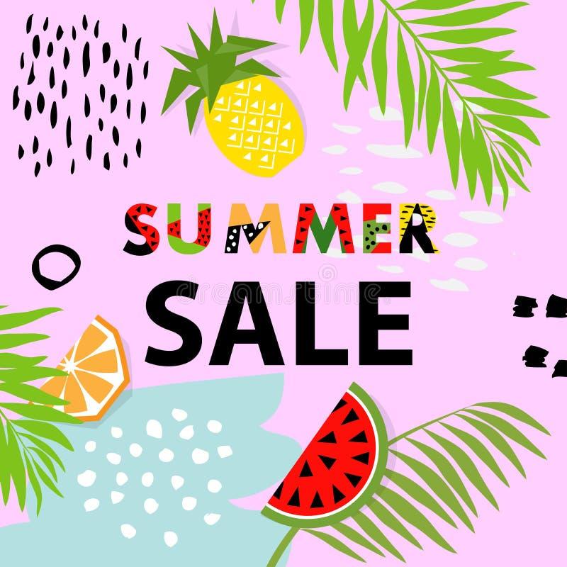 Modische Tropen- und Fruchtwassermelone, Ananasmusterabdeckung V lizenzfreie abbildung