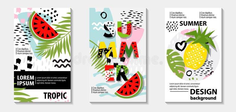 Modische Tropen- und Fruchtwassermelone, Ananasmusterabdeckungen lizenzfreie abbildung