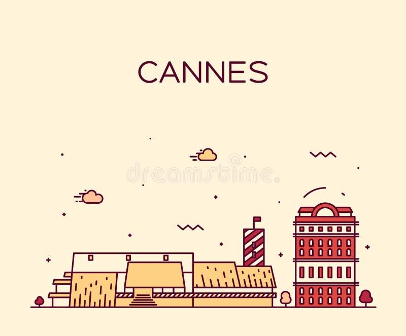 Modische Vektorillustration Cannes-Skyline linear vektor abbildung