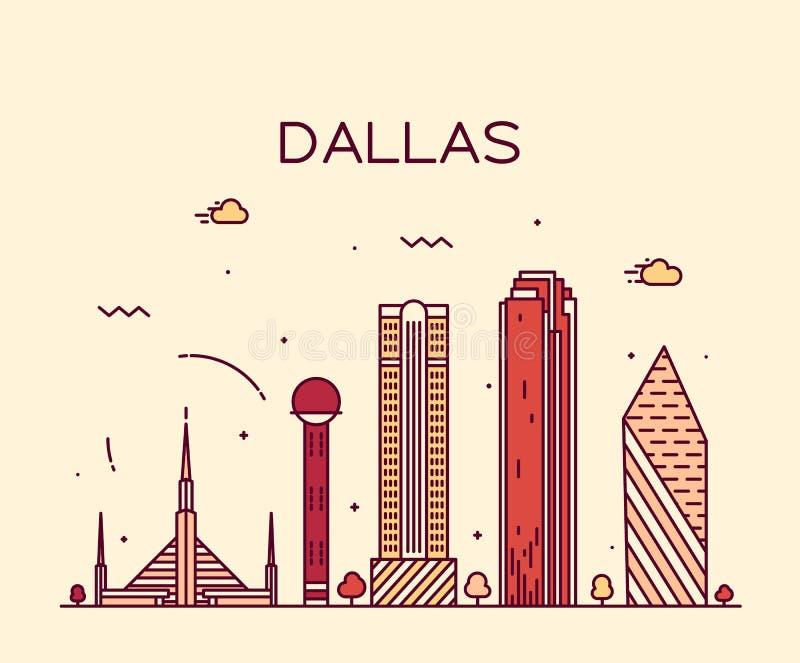 Modische Vektorillustration Dallas-Skyline linear lizenzfreie abbildung