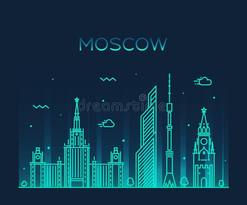 Modische Vektorillustration Moskau-Skyline linear stock abbildung
