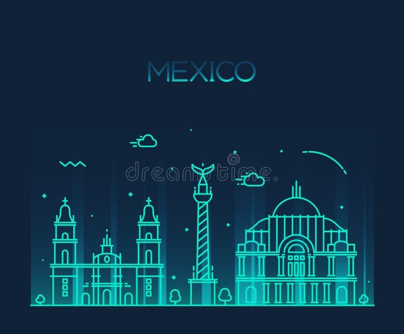 Modische Vektorlinie Kunstart Mexiko- Cityskyline lizenzfreie abbildung