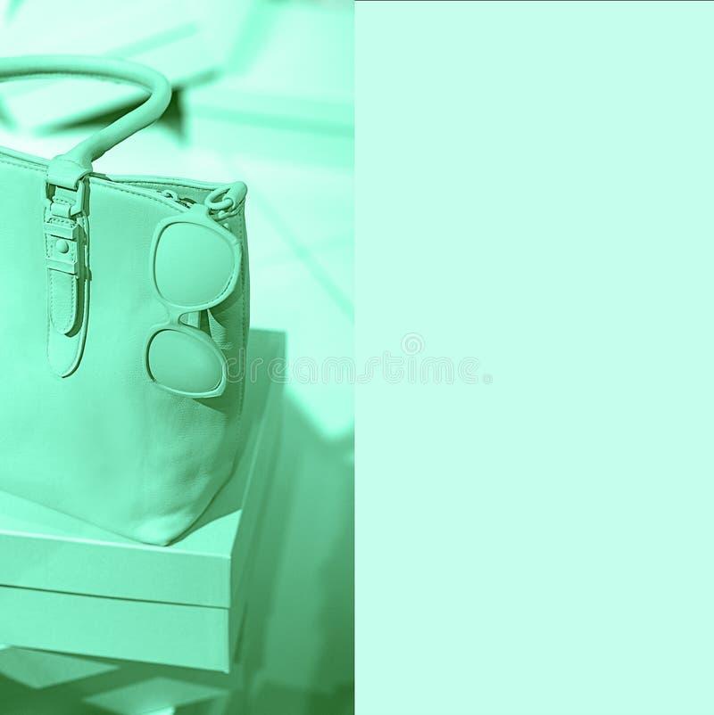 Modische weibliche Zusätze des Konzeptes sacken Gläser auf Kästen und klarem grüne Farbneonhintergrund ein Eleganzmodeausstattung stockbild