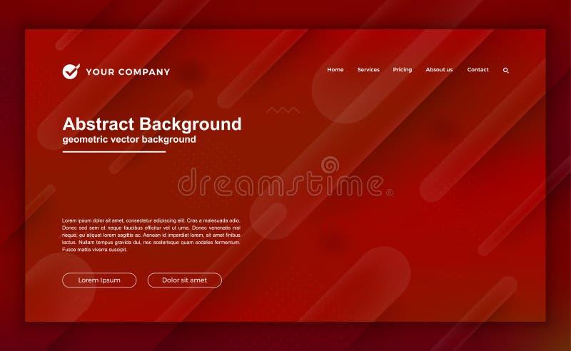 Modischer abstrakter Hintergrund für Ihren Landungsseitenentwurf Minimaler Hintergrund für Websiteentwürfe Modischer roter Steigu vektor abbildung
