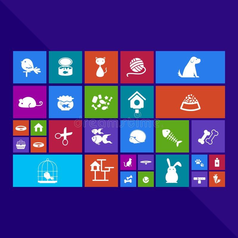 Modischer Computer oder bewegliches Anwendungs-APP-Programm der Haustierikone lizenzfreie abbildung