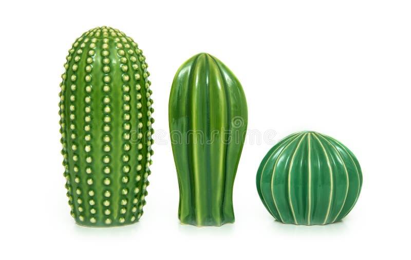Modischer Kaktus formte Vasen stockbilder