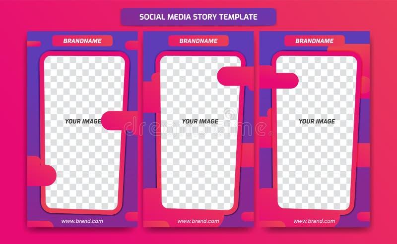 Modischer moderner Social Media Instagram-Geschichtenrahmen-Schablonenentwurf mit abstrakter flüssiger Steigung des purpurroten V lizenzfreie abbildung