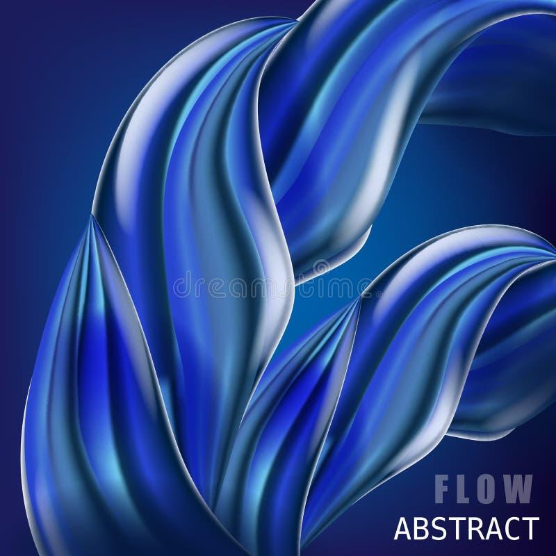 Modisches abctract buntes Flussplakat, baner, Schablone Flüssige Form der Welle in der blauen Farbe Moderne flüssige Steigungsfor vektor abbildung